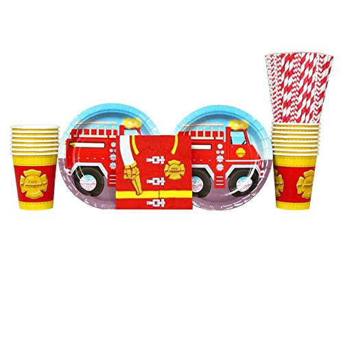 ck Party Pack for 16 Guests: Straws, Plates, Napkins, and Cups (Firefighter Cups)