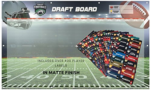 Avocado Goods Fantasy Football Draft Board 2018 Kit - Reusable - Heavy Duty 3' x 5' Feet Vinyl Board with Grommets & Matte Stickers - For Leagues up to 16 (3' Vinyl Ball)