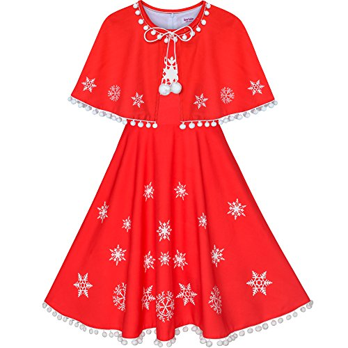 Girls Dress Red Cape Cloak Christmas Year Holiday Party Size 12