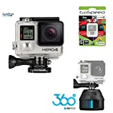 GoPro Hero4 Hero 4 12MP Full HD 4K 30fps 1080p 120fps Built-In Wi-Fi Waterproof Wearable Camera Black Adventure 8GB Edition with GoPole Scenelapse 360 Time-Lapse Device