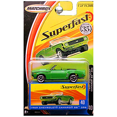 Matchbox 2004 Superfast 1969 Chevrolet Chevy Camaro SS 396 Convertible Green #40