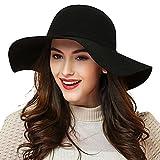 ZZCC Women Wide Brim Beach Hat Vintage Bowknot Felt Hat