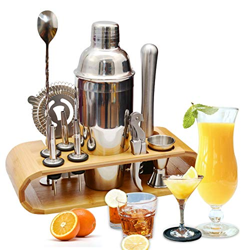 Stainless Steel Display Set - AYAOQIANG Cocktail Making Set, Cocktail Shaker Set 750ml Stainless Steel Bar Tool Set Bartender Kit with Wooden Display Stand (Silver)