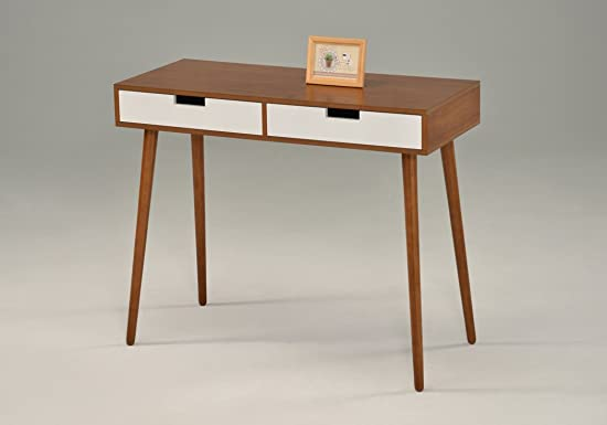 Light Walnut White Console Sofa Table with Two Drawer – Mid-Century style