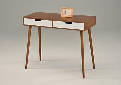 amazon com light walnut white console sofa table with two drawer rh amazon com lane mid century sofa table mid century furniture table