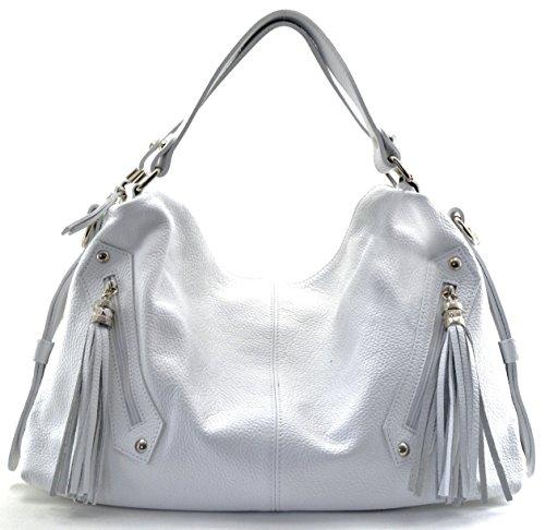 CUIR DESTOCK sac à main porté main et bandoulière cuir grainé modèle beyonce - nouvelle collection 2018 Blanc
