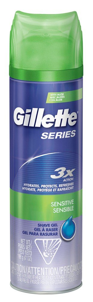 Gillette Series 3X Shave Gel Sensitive 7 Ounce (207ml) (3 Pack)
