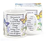 Inspirational Serenity Prayer Mug With Butterfly Design Inexpensive Gift