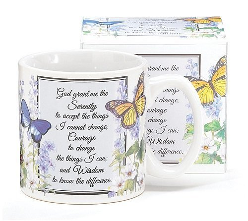 Inspirational Serenity Prayer Mug With Butterfly Design Inexpensive Gift ()