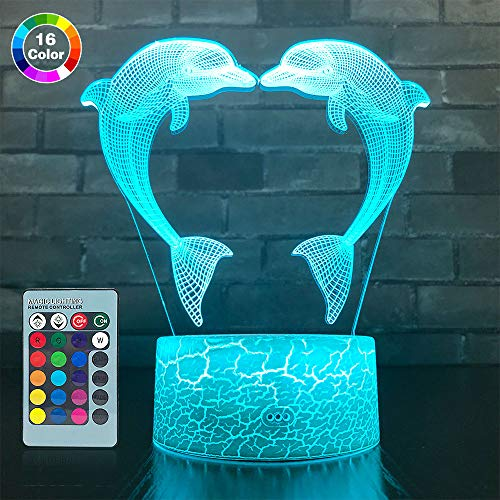 SETIFUNI Dolphin Gifts, 3D Dolphin lamp 16 Colors