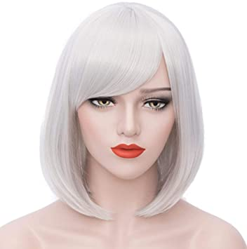 Amazon.com   Mildiso Short Silver Hair Wigs Bob Cosplay Wig Straight Costume  Wigs with Oblique Bangs for Women 12 Inch M049S   Beauty 51cd68c3b