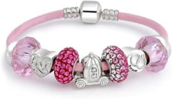 12cec7032 Forever Love Heart Valentine Pink Crystal Bead Charm Bracelet Genuine  Leather Sterling Silver For Women Barrel