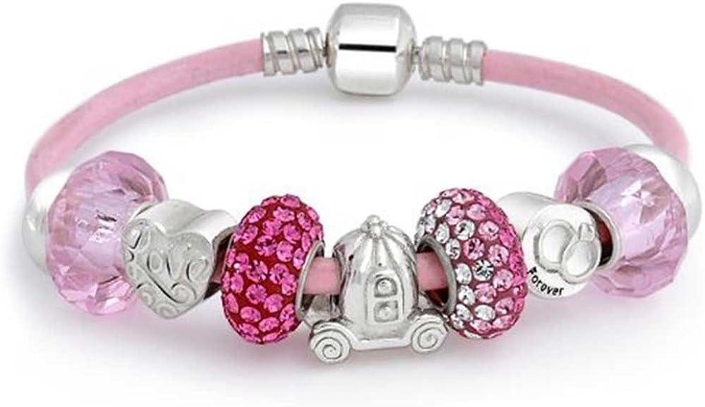 Bling Jewelry Amor Eterno De San Valentín Corazón Cristal Rosado Brazalete De Albalorios Plata Esterlina De Cuero Auténticopara Mujer