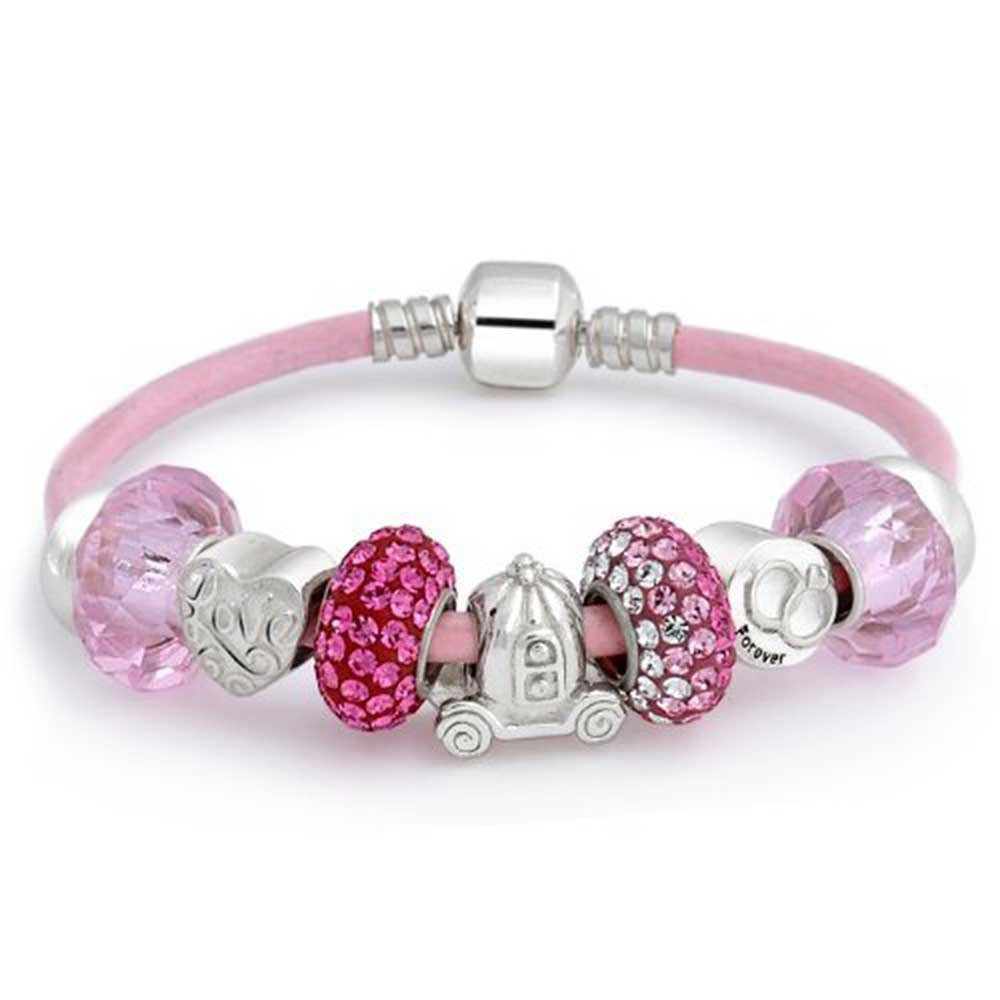 Forever Love Heart Valentine Pink Crystal Bead Charm Bracelet Genuine Leather Sterling Silver For Women Barrel Clasp by Bling Jewelry (Image #1)