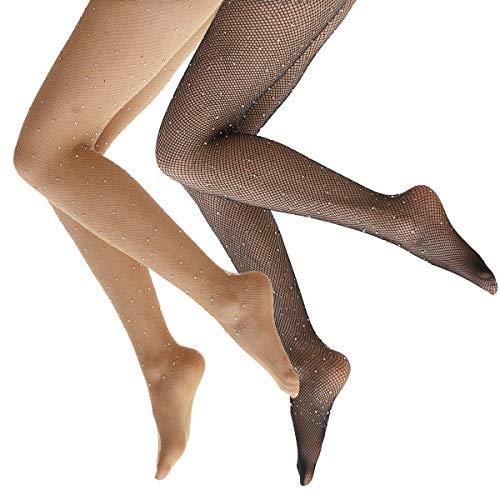 Ypser Fishnet Tights Mesh Stockings Sparkle Rhinestone Glittering Net Pantyhose ()