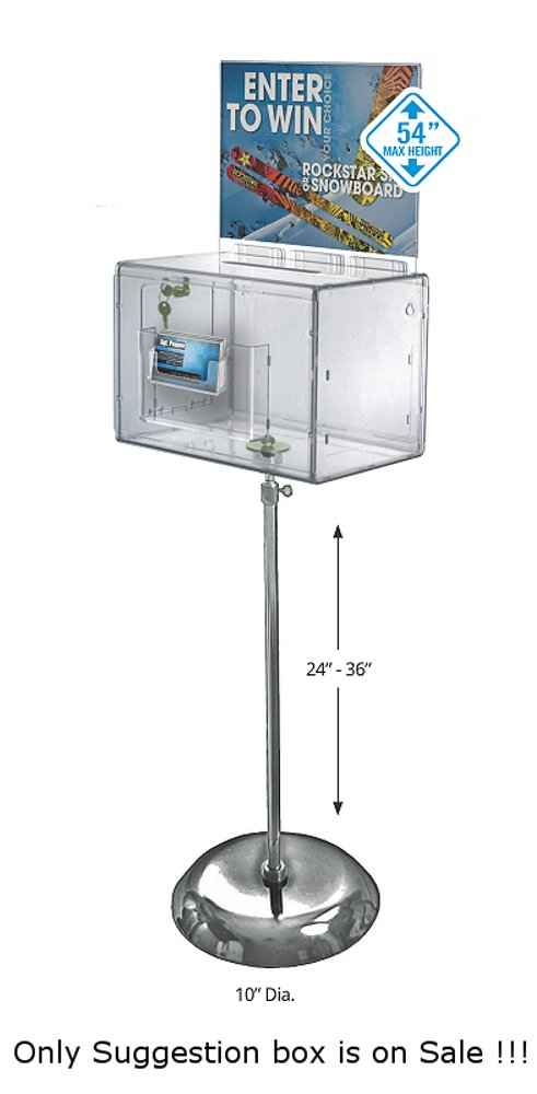 Long Pedestal Showcases Extra Large Clear Suggestion Box with Pocket