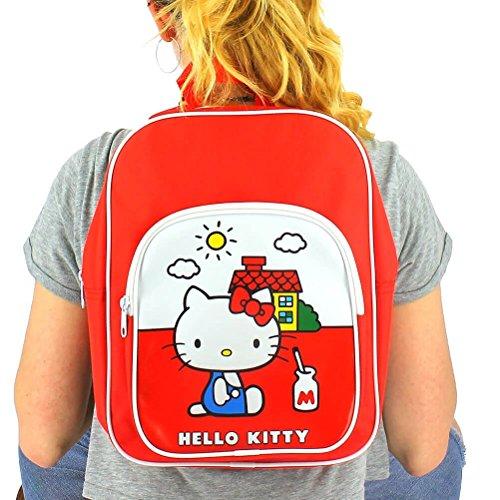 Offizielle Kinder Hello Kitty Vintage Kollektion Red Rucksack Tasche