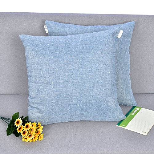 Natus Weaver Decoration Lined Linen Square Euro Throw Pillow Cover Sham Hand Made Cushion Case for Sofa with Invisible Hidden, 18 - inches ( Set of 2, Denim Blue (Denim Euro Sham)