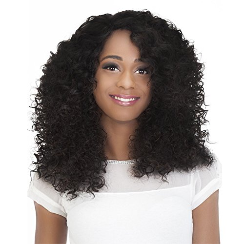 [Netgo Kinky Curly Afro Wigs for Black Women Short Curly Jet Black Synthetic Wigs Natural and Bouncy Wigs with Wig] (Curly Wigs For Black Hair)