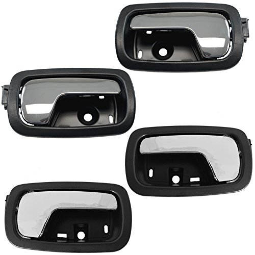 Door Handle Front & Rear Inner Inside Black & Chrome Set of 4 for Chevy Cobalt (Cobalt 4 Chevy Door)