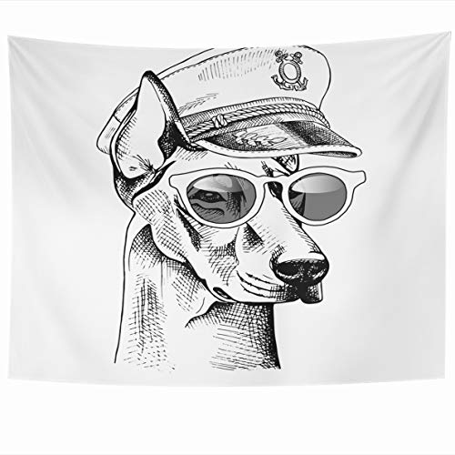Doberman Pinscher Tapestry - Ahawoso Tapestry 80x60 Inches Black Pinscher Doberman Captain Cap Sunglasses Navy Anchor Starry Wall Hanging Home Decor Tapestries for Living Room Bedroom Dorm