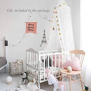 Dix-Rainbow Princess Girls Bed Canopy, Lace Crib Canopy...