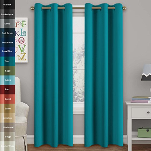 Turquoize Solid Blackout drapes, Room Darkening, Teal/ Blue Turquoise, Themal Insulated, Grommet/Eyelet Top, Nursery/Living Room Curtains Each Panel 42″ W x 84″ L (Set of 2 Panels)