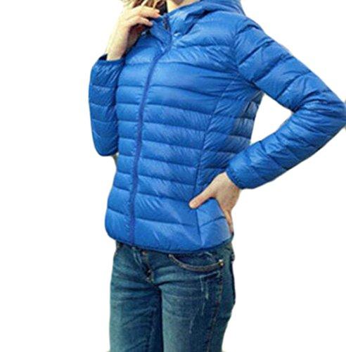 MU2M Womens Fashion Padded Warm Hoodie Zipper Short Down Coats Puffer Jacket Blue