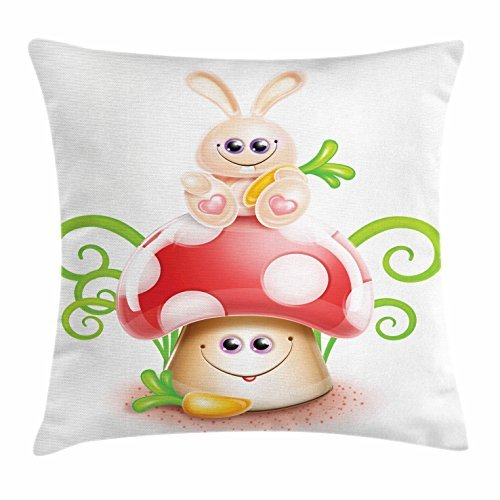 Kawaii Throw Pillow Cushion Cover, Cartoon Style Bunny Sitting on a Giant Mushroom with Swirled Leaves and a Carrot, Decorative Square Accent Pillow Case, 18 X 18 Inches, Multicolor