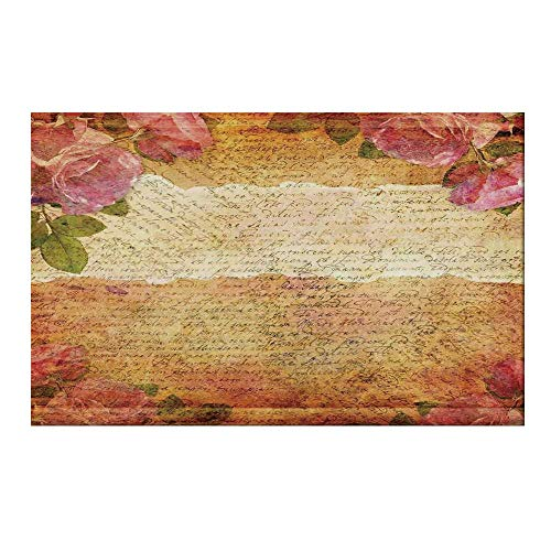 - YOLIYANA Roses Decorations Durable Door Mat,Floral Nostalgic Collage of Old Latters and Roses Artsy Retro Romantic Artwork Print for Home Office,19.6