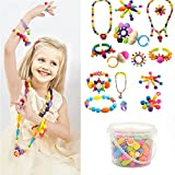250 Pcs Arty Snap Beads Set with Storage Box, Creative DIY Jewelry Kit for Kids Toddlers Girls Handed Make Necklace Earrings Bracelets Rings,Idea Gift Toys for 4-12 Year Old Girl