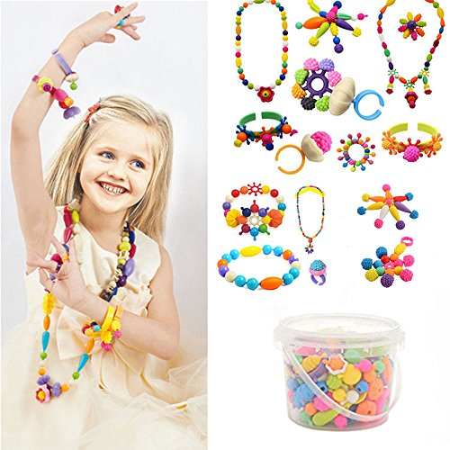 Edycur 250 Pcs Arty Snap Beads Set with Storage Bucket, Creative DIY Jewelry Kit for Kids Toddlers Girls Handmade Necklace Earrings Bracelets Rings, Idea Christmas Gift Toys for 4 -12 Year Old Girls -