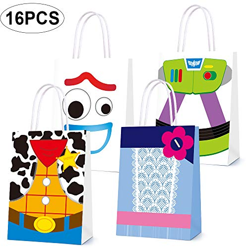 Toy Inspired Story Decorations, Party Favor Bags for Toy Story Party Supplies- Party Favor Goody Treat Candy Bags for Girls Boys Adults Birthday Party Decor- 4 Patterns Double Sided Printed (16 PCS)