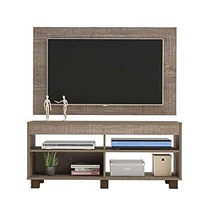 Mueble para tv con panel cross canela for Muebles tv amazon