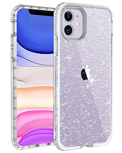 LONTECT for iPhone 11 Case Glitter Crystal Clear Sparkle Bling Heavy Duty Hybrid Sturdy Armor High Impact Shockproof Protective Cover Case for Apple iPhone 11 6.1 2019, Clear/Silver Glitter