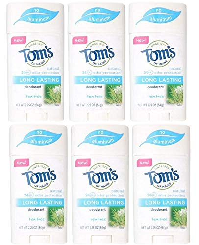 Tom's of Maine Natural Long Lasting Deodorant Multi Pack, Tea Tree, Pack Of 6)