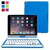 iPad Air 2 Keyboard, Snugg [Blue] Wireless Bluetooth Keyboard Case Cover [Lifetime Guarantee] 360° degree Rotatable Keyboard for Apple iPad Air 2