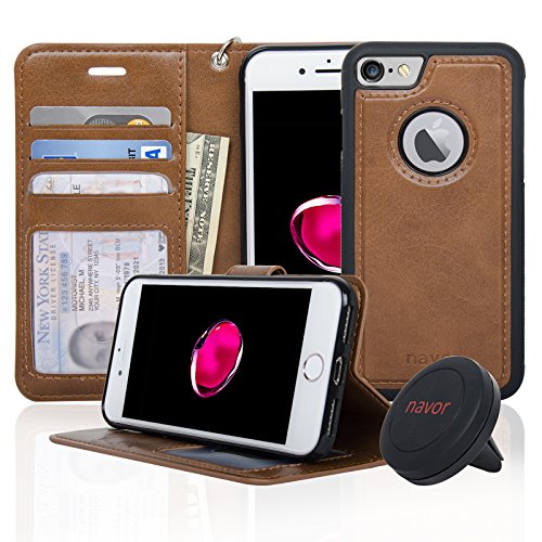 Navor Detachable Magnetic Wallet Case & Universal Car Mount Compatible for iPhone 7 & 8 [RFID Theft Protection] JOOT-1L Series - Brown