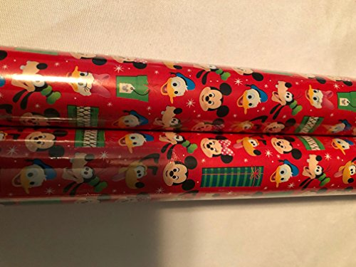 Holiday Christmas Gift Wrapping Paper - 20 sq ft Each Roll New 2017 Design (Disney Mickey, Minnie, Goofy, Donald, - Value Macy's Gift Card