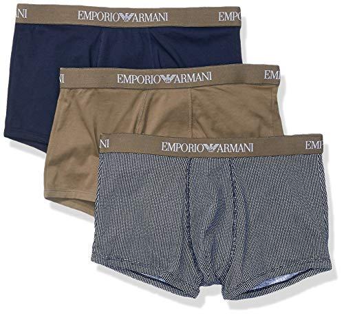 - Emporio Armani Men's 3-Pack Cotton Trunks, Khaki/Printed Marine, Extra Large
