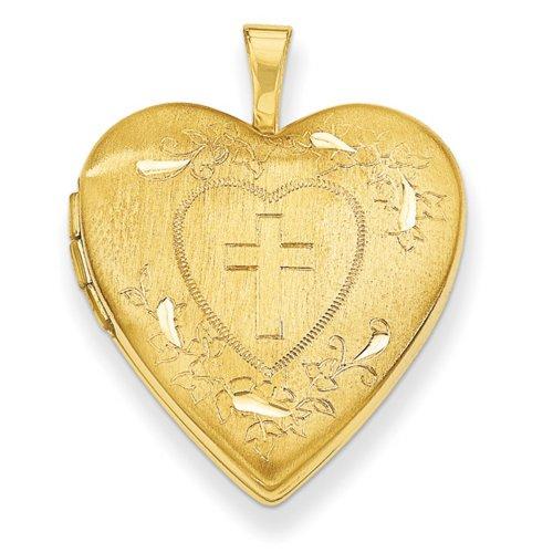 Icecarats Créatrice De Bijoux 14K 20Mm Croix W / Coupe Diamant Coeur Médaillon