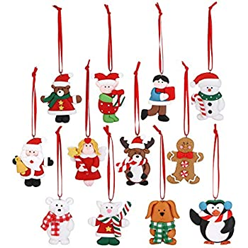Sea Team Assorted Clay Figurine Ornaments Cute Traditional Snowman, Santa Clause, Reindeer, Penguin Doll Hanging Charms Christmas Tree Ornament Holiday Decorations, Set of 12