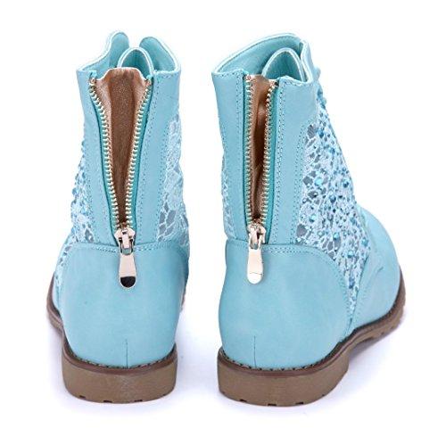 Damen Boots Schuhe Schuhtempel24 Stiefel flach 2 cm Stiefeletten Blau Flache Ziersteine Bxq6nwdq