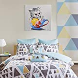 Seven Wall Animals Funny Cat Art Colorful Kitty