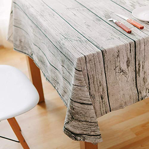 Wood Table Cover (WGZOJOPD Dining Tablecloth Retro Soft Cotton and Linen Tablecloth Wood Grain Simulation Bark Dustcloth Photography Background Cloth (90 x 90cm(35 x)