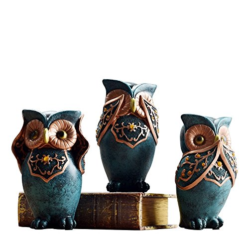 (BWLZSP 1SET(3PCS) Small ornaments for decorating rooms American bedroom bookcases TV cabinets cut off cabinets Owl pendants LU614347)
