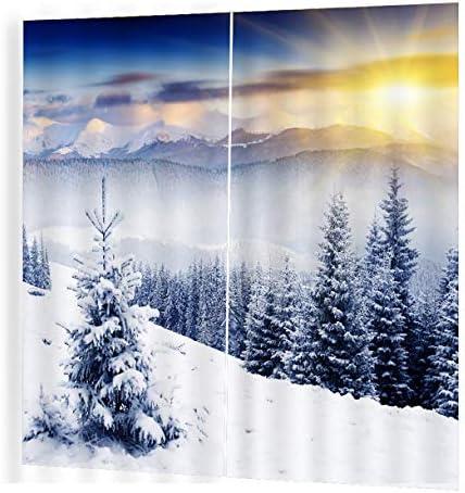 QinKingstore 150 * 166リビングルームの寝室の窓のカーテンのカーテン冬のサンシャインプリントバルコニーサンシェーディングガーデンスタイル