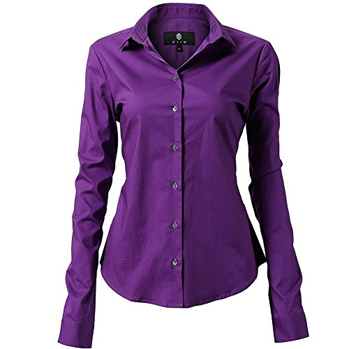 Shirts for Women Slim Fit Stretchy Cotton Purple Button Down Shirts Size 22 ()