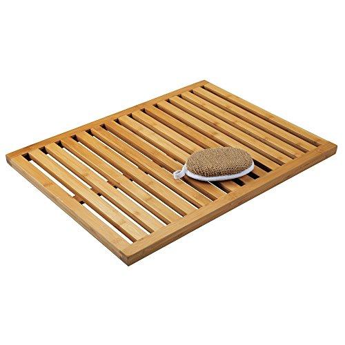 mDesign Natural Bamboo Non-Slip Large Rectangular Spa Bath Mat - for Bathroom Showers, Bathtubs, Floors - Slatted Design, Eco-Friendly - Indoor and Outdoor use - 100% Bamboo Wood, Natural Light Wood (Slatted Floor)