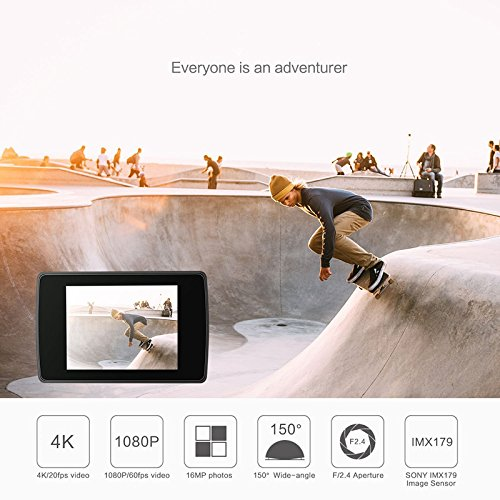 YI 4K Action Camera, Sports Camera with Selfie Stick & Bluetooth Remote (US Edition) Night Black